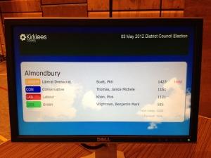 Almondbury 2012 result on the plasma screen